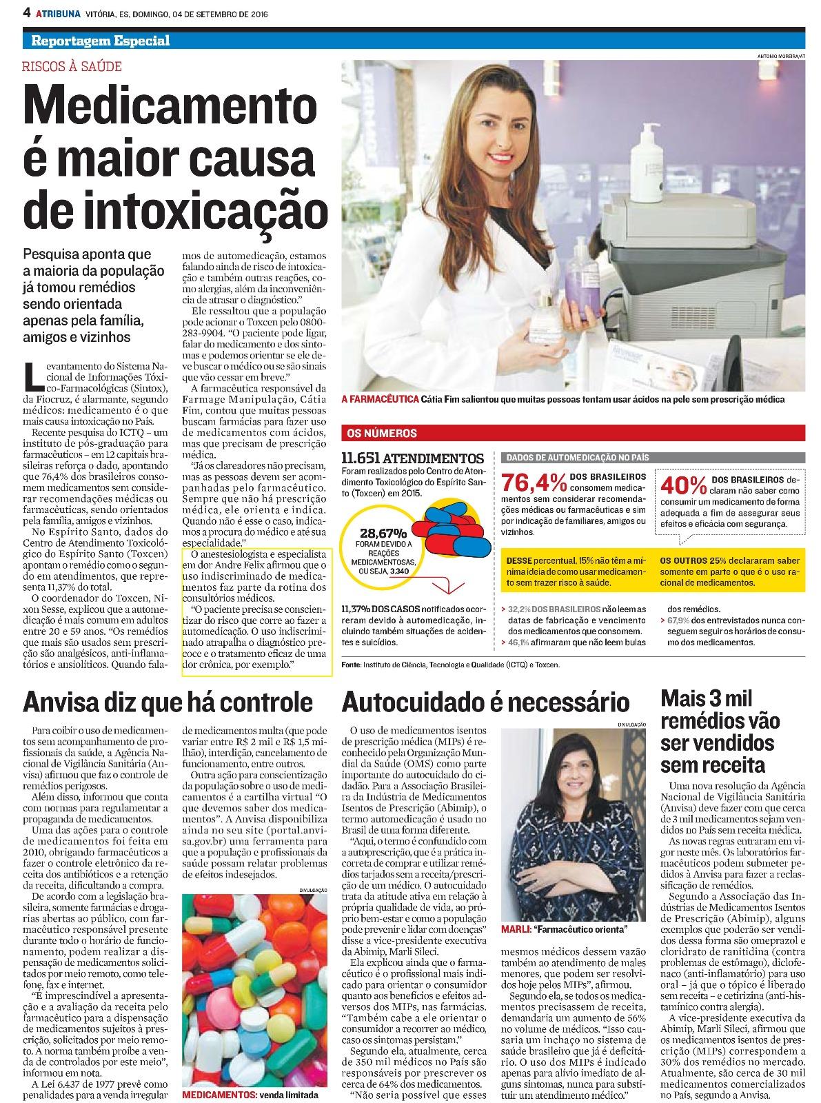Dr. André Felix em matéria para Jornal Gazeta
