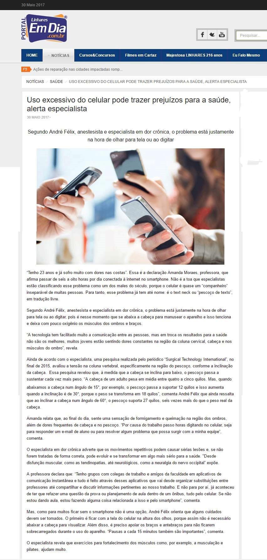 O uso do celular e os prejuízos a saúde - Portal Linhares Em Dia